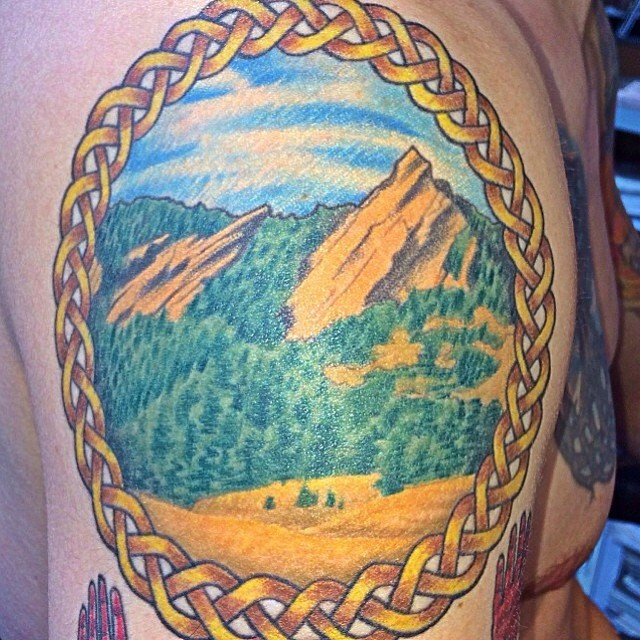 Flatirons tattoo by scottiedeville celtic coloradotat for Best tattoo artists in colorado