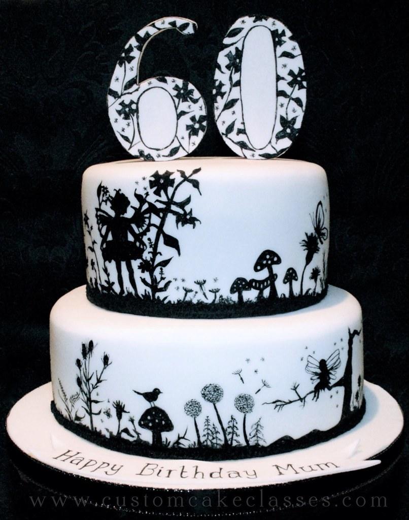 Fairy Silhouette Birthday Cake Hand Painted Black