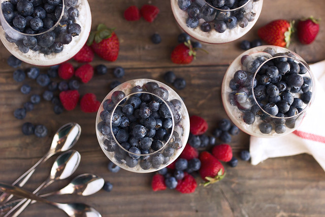 Red White and Blue Berry Chia Parfaits