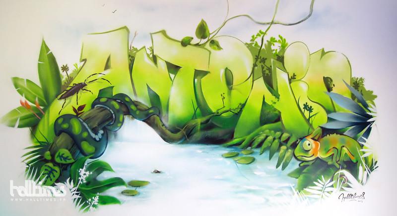 fresque graffiti enfant jungle web fresque murale de la ch flickr. Black Bedroom Furniture Sets. Home Design Ideas