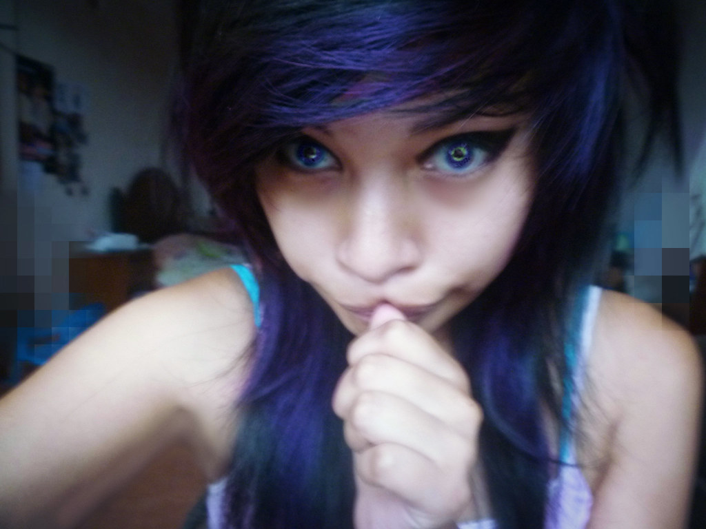 White and purple hair