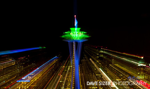 seattle space needle lit up in seahawks colors flickr photo sharing. Black Bedroom Furniture Sets. Home Design Ideas
