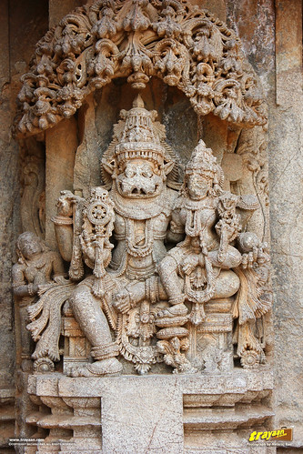 Relief sculpture of Lord Narsimha on the outer walls of Keshava Temple, Somanathapura, Mysore district, Karnataka, India