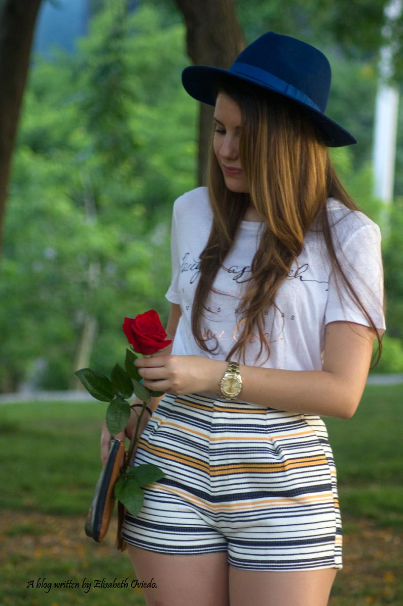 shorts stradivarius sombrero clutch azul  (5)