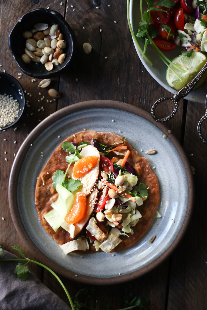 Chinese Chicken Salad Tacos with Home made spiced tomato tortilla |foodfashionparty| #Chinesechickensaladtaco