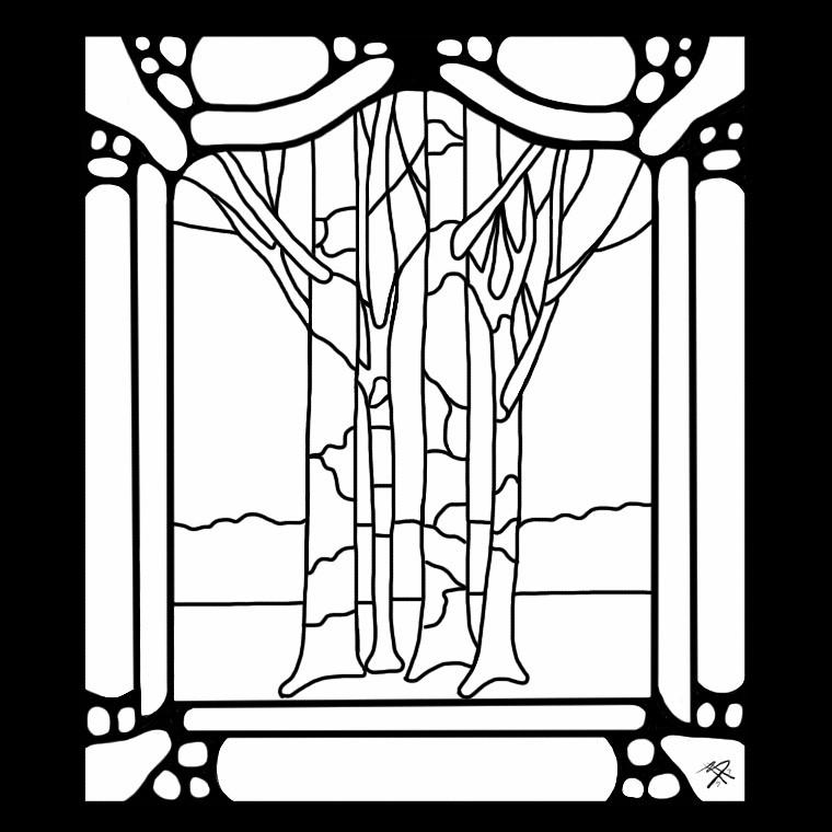 Art Nouveau Tree Painting