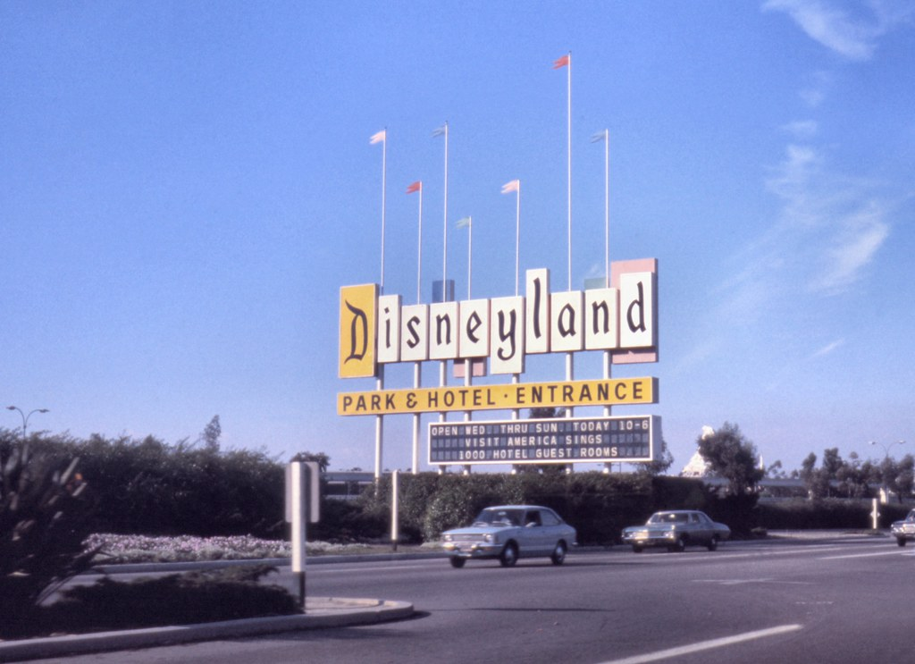 Disneyland sign, Harbor Blvd, Anaheim, 1974 | There are no ...