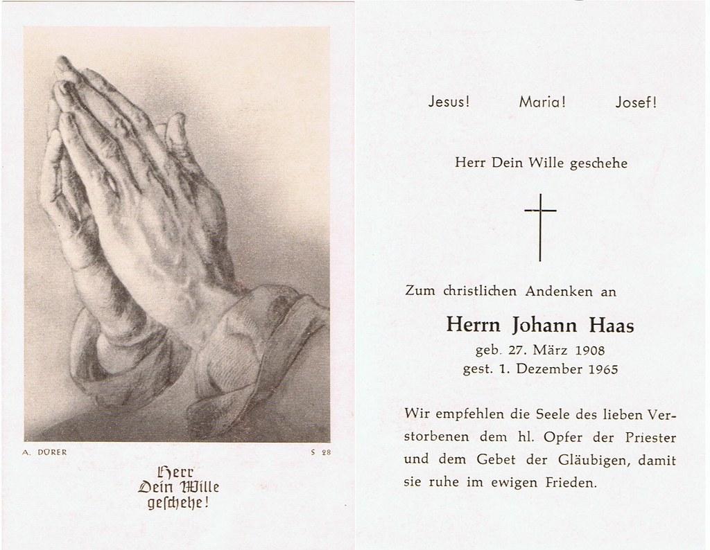 Totenzettel Haas, Johann † 01.12.1965