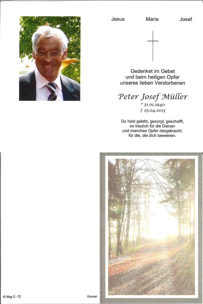 Totenzettel Mueller, Peter Josef † 25.04.2013