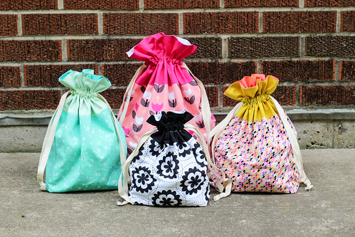 Geometric Bliss Lined Drawstring Bags