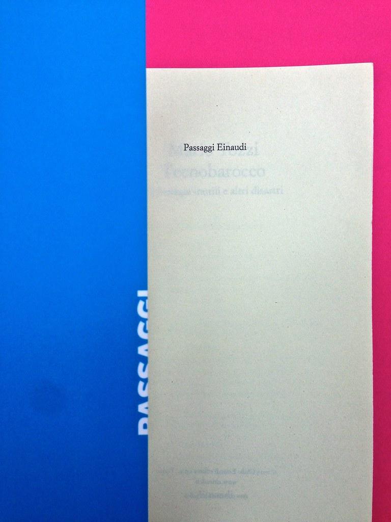 Mario Tozzi, Tecnobarocco. Einaudi 2015. Responsabilità grafica non indicata [Marco Pennisi]. Bandella di copertina, pagina dell'occhiello, a pag. I (part.), 1