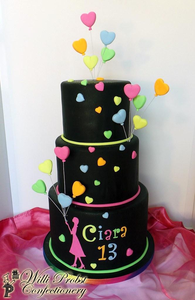 Neon Hello Kitty Birthday Cake