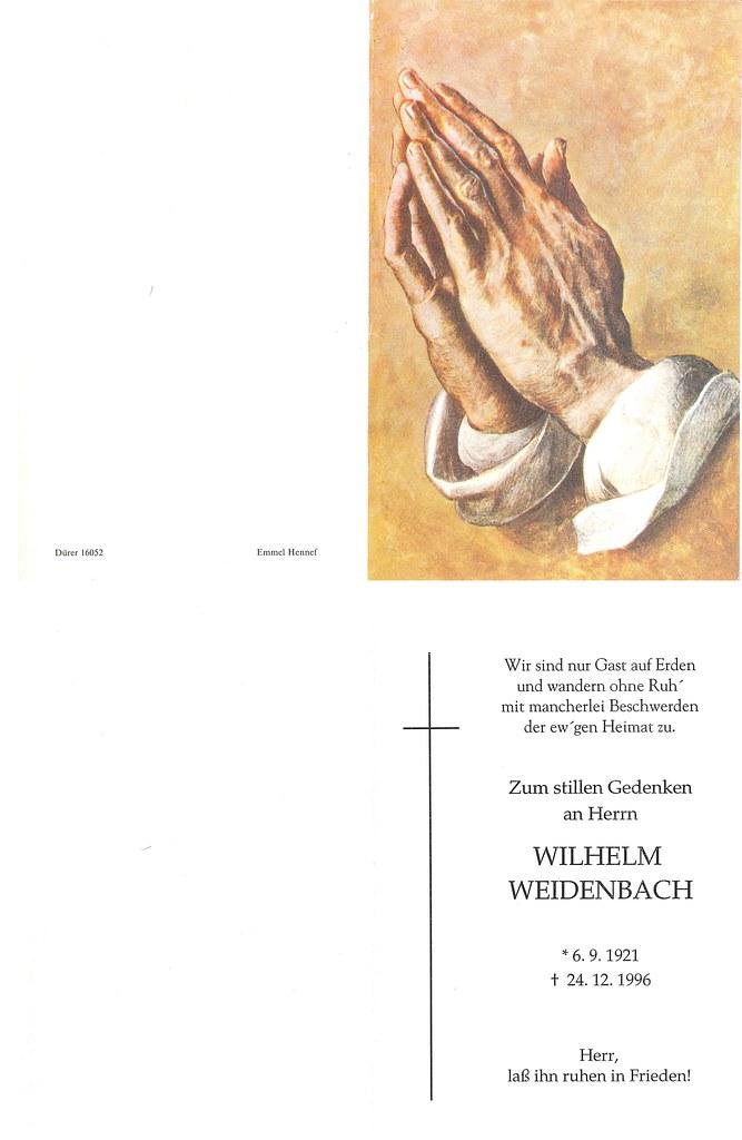 Totenzettel Weidenbach, Wilhelm † 24.12.1996