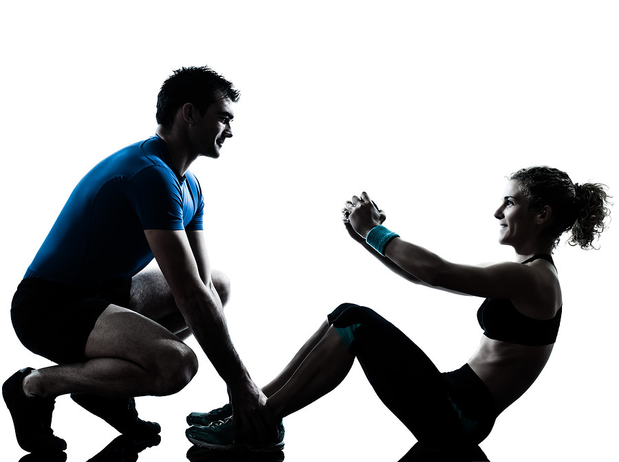 one caucasian couple man woman personal trainer coach exer ...