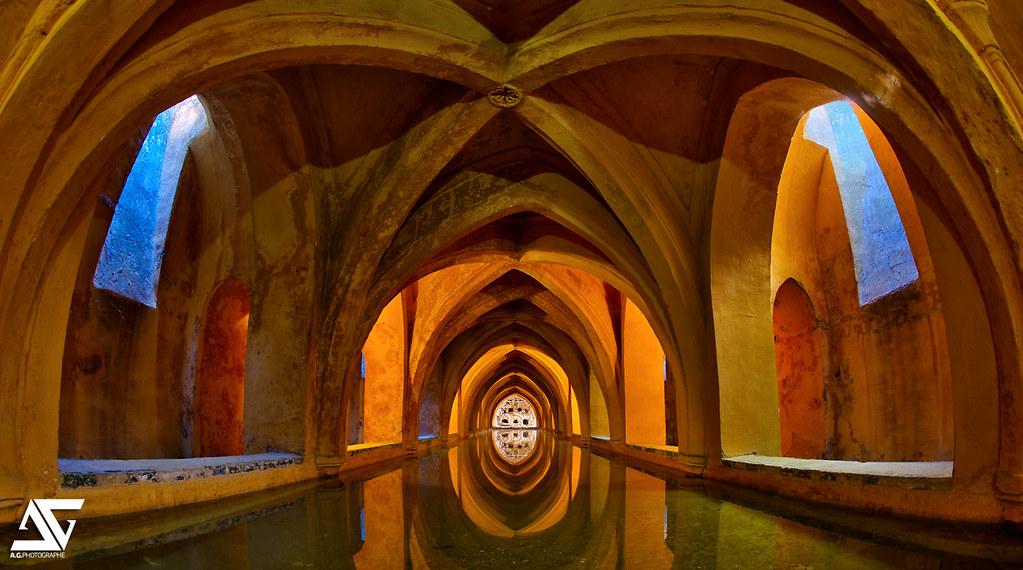 Bassin des jardins de l 39 alcazar bassin souterrain de l for Algues bassin de jardin