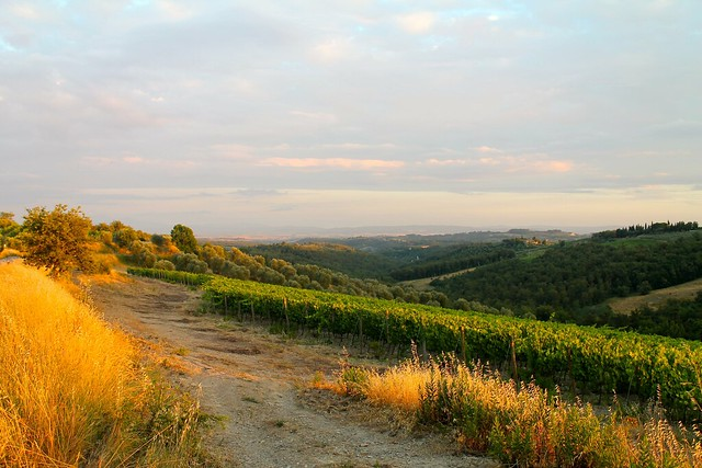 Sunset in Tuscany with views of Siena