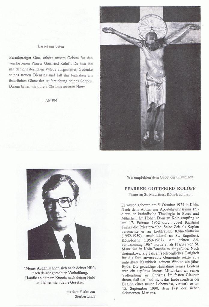 Totenzettel Roloff, Gottfried † 15.09.1990