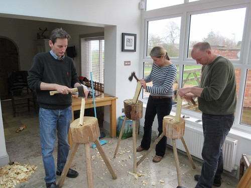 Axing wooden spoons