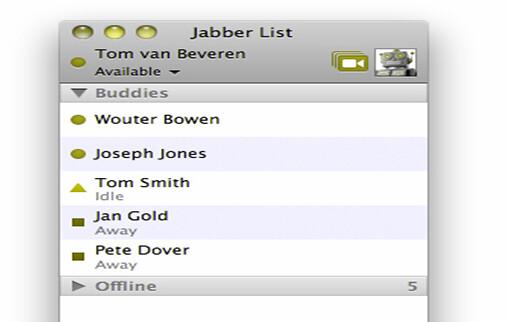 원, 세모, 네모 등의 심볼로 구분한 Mac 메신저 채팅 화면 이미지