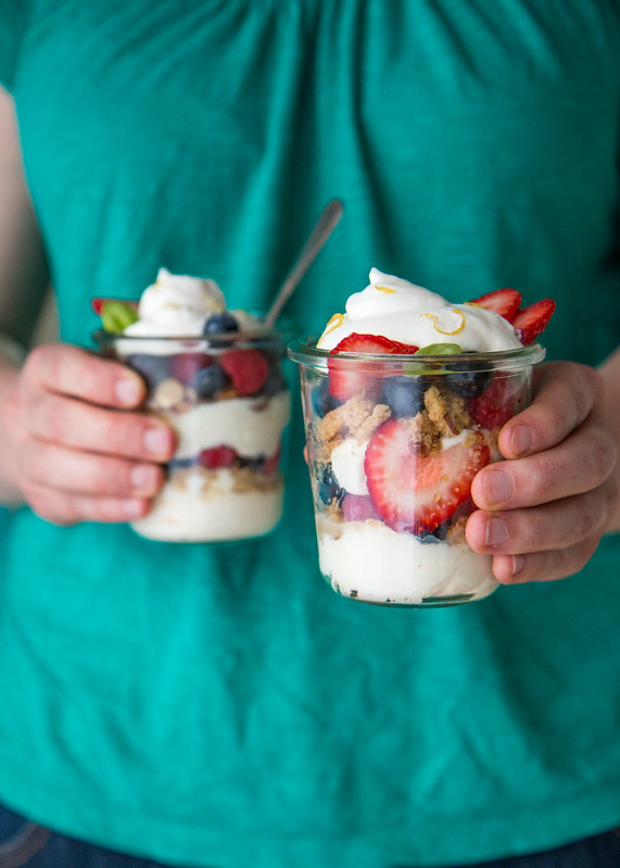 Summer Berry Parfaits with Almond Crumble and Whipped Mascarpone
