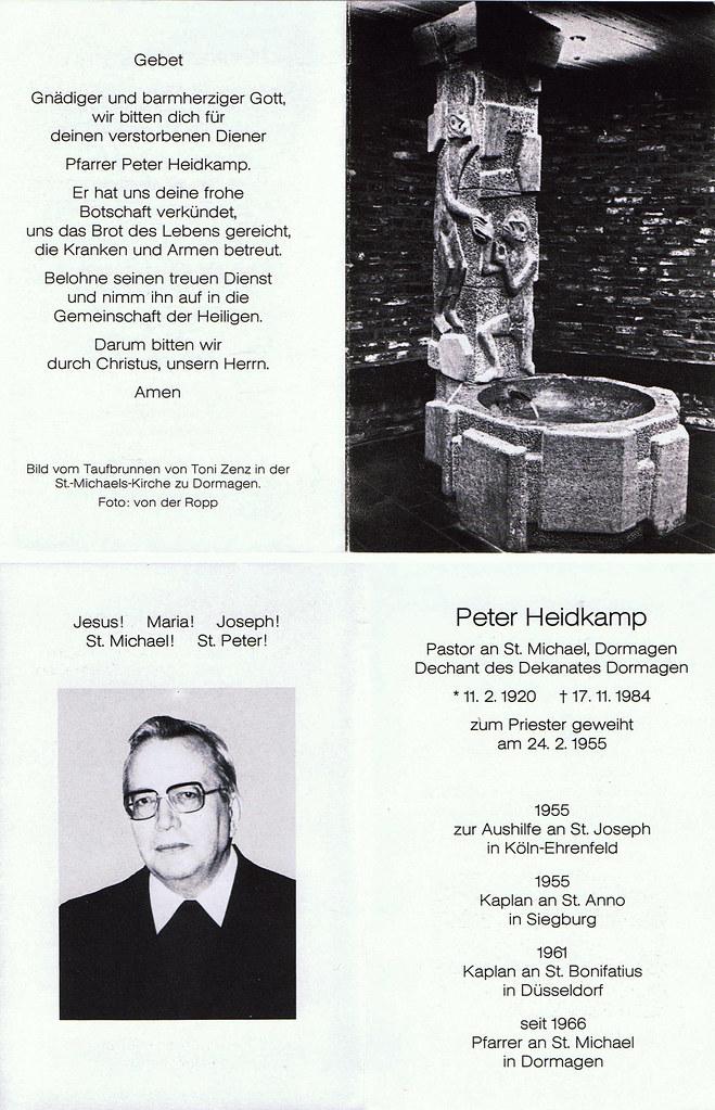Totenzettel Heidkamp, Peter † 17.11.1984