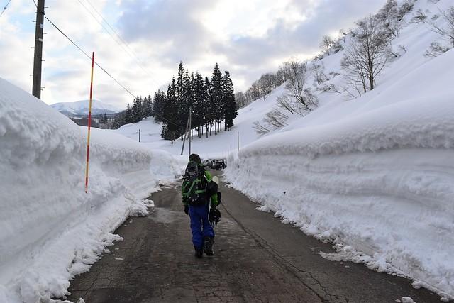 冬の守門岳 登山口までの除雪された道