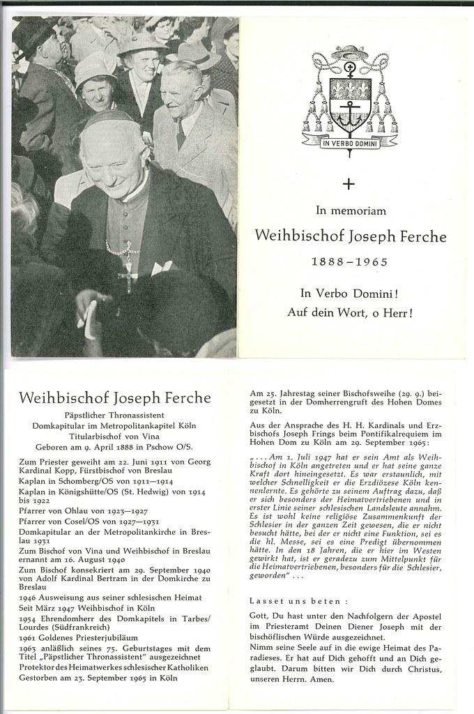 Totenzettel Ferche, Josef Weihbischof † 23.09.1965