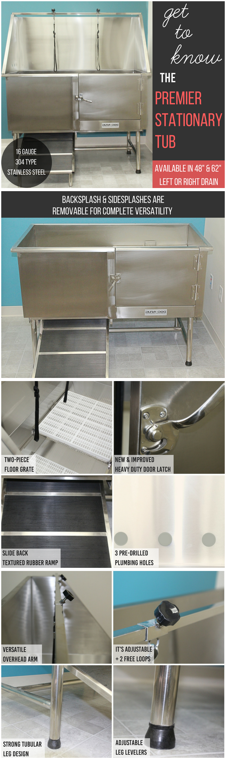 Dura Dog Premier Stationary Stainless Steel Tub 48\
