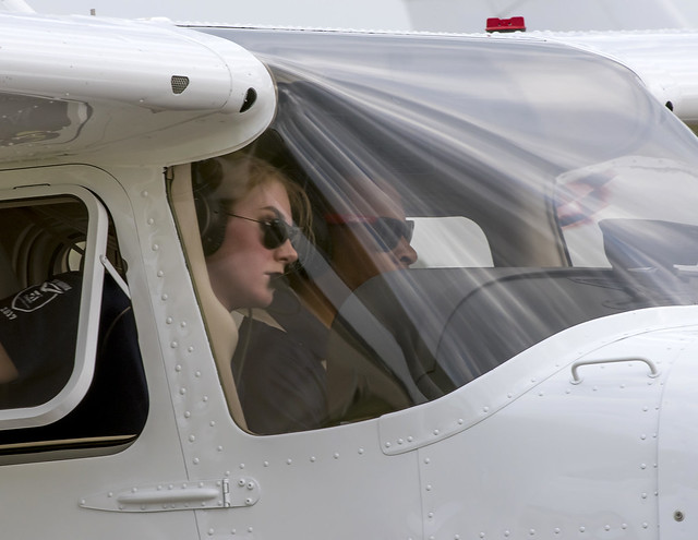 Recent Auburn graduate Ashley Tucker and junior Hampton McDonald are pictured in the cockpit.
