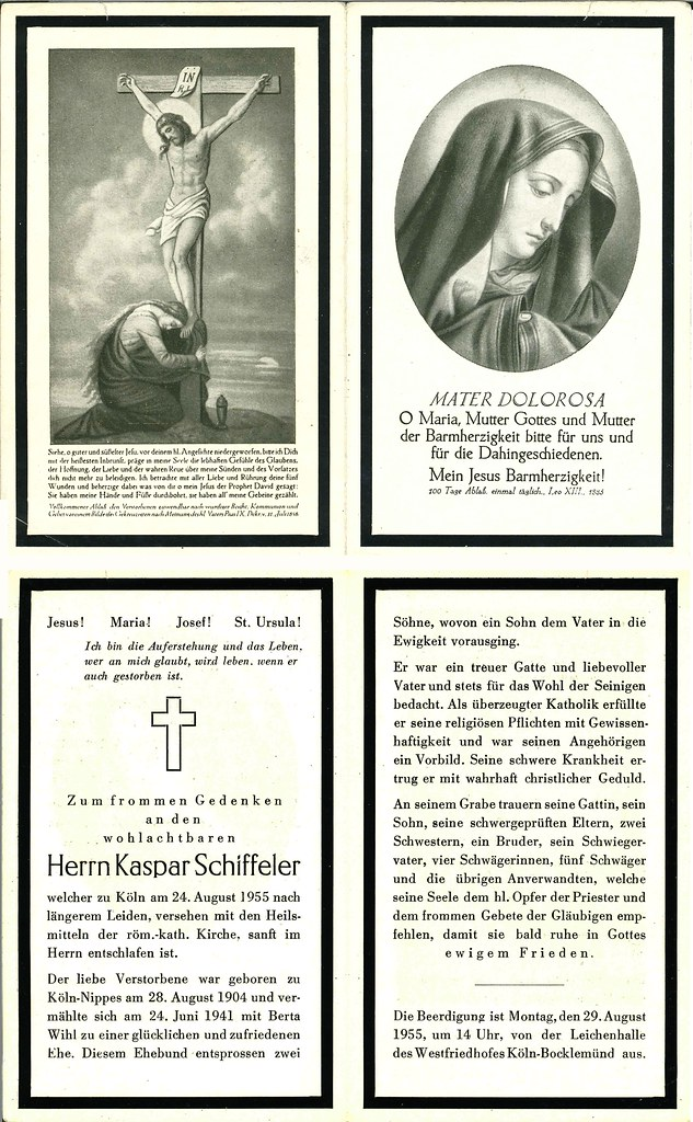 Totenzettel Schiffeler, Kaspar † 24.08.1955