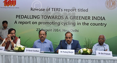 Dr R K Pachauri,Director General,TERI; Dr Harsh Vardhan, Hon'ble Union Minister for Health and Family Welfare, Government of India; Mr Pankaj Munjal,Co-Chairman and Managing Director, HERO Cycles Ltd. and Member, All India Cycle Manufacturers Association