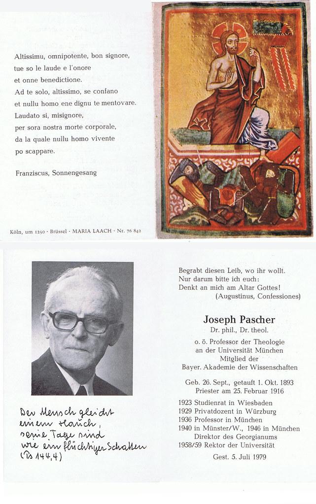 Totenzettel Pascher, Joseph † 05.07.1979
