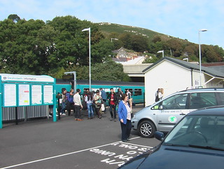 Passengers leaving a train at Fishguard & Goodwick stations