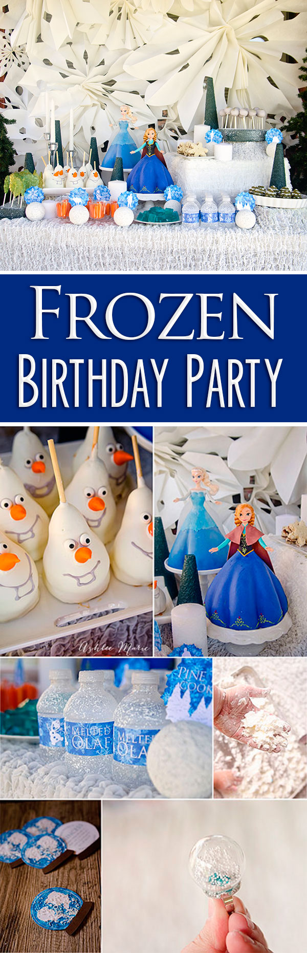 Frozen is the birthday party of the year and this full party is no exception.  Tons of themed movie party food, cake tutorials, decorations and crafts! show your disneyside with a Frozen party