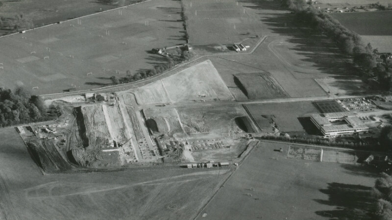 An aerial photo of Claverton Down in 1966
