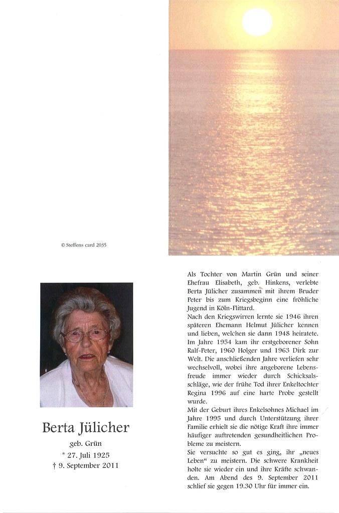 Totenzettel Grün, Berta † 09.09.2011