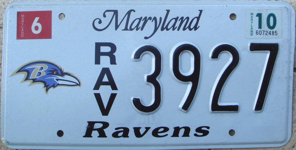 Baltimore Ravens License Plate Maryland Football Nfl
