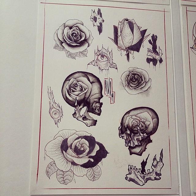 Flashtattoo Tattoo Dotworkers Dotwork Blackwork Rose Skull