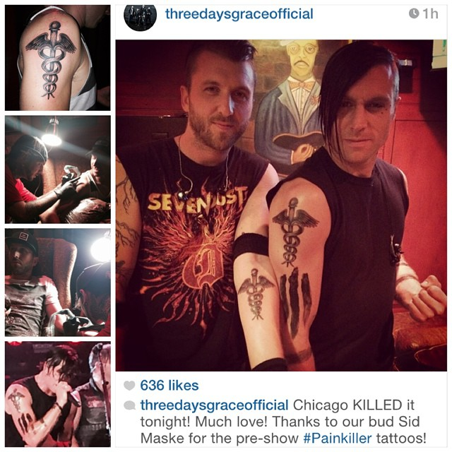 Got to kick it and throw some ink on matt and neil from th for Painkillers for tattoos