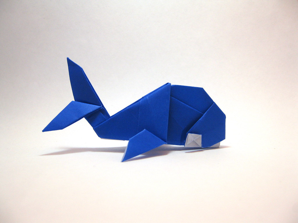 origami whale designed and folded by mindaugas