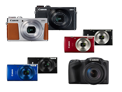 New compact cameras from Canon. Clockwise from top left: PowerShot G9 X Mark II, IXUS 185 (red/black), PowerShot SX430 IS, and IXUS 190 (black/blue).