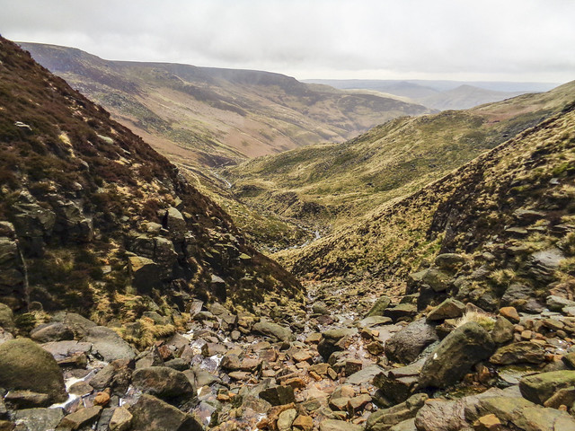 Looking back down from near the top of Grindsbrook Clough