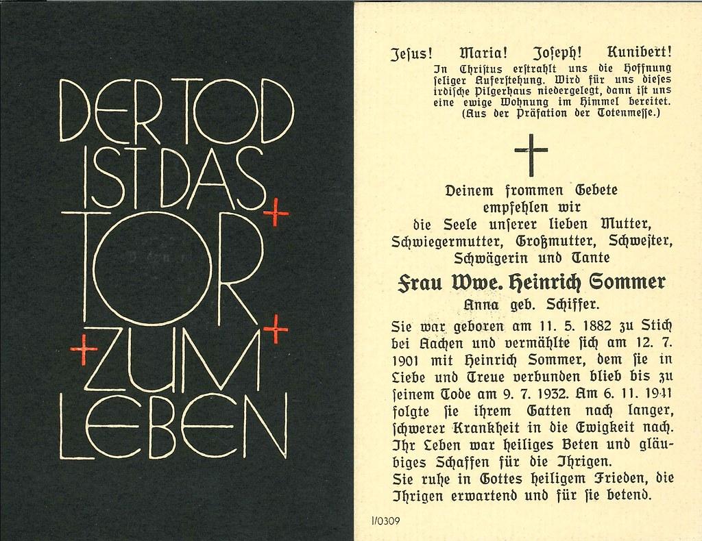Totenzettel Schiffer, Anna † 06.11.1941