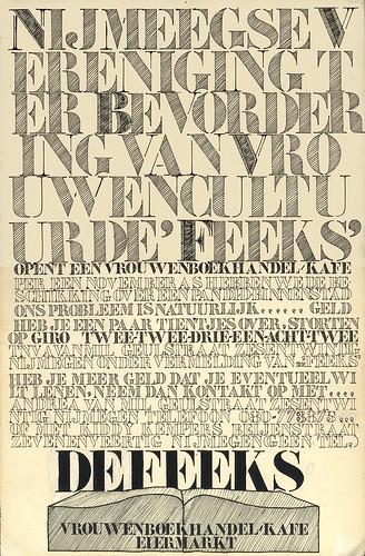 oprichtings affiche Nijmeegse Vereniging ter Bevordering van Vrouwencultuur De Feeks
