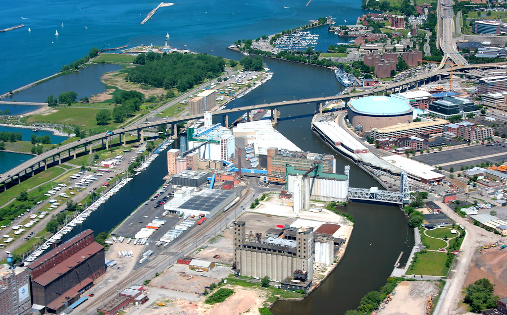 General Mills, the Skyway, and Buffalo harbor | This is an ...