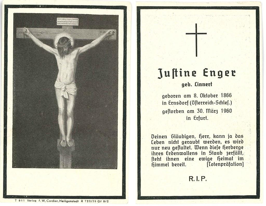 Totenzettel Enger, Justine † 30.3.1960