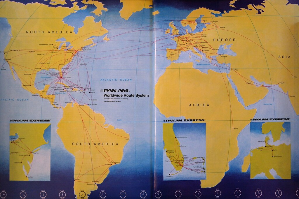Pan Am Route Map October 1991 Pan Am Route Map From