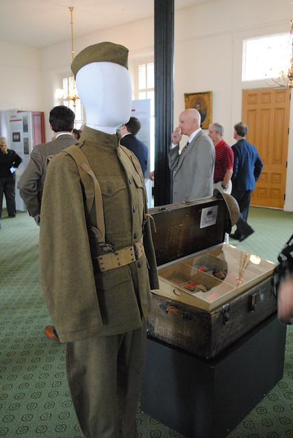 Artifacts on display in Remembering the Great War exhibit.