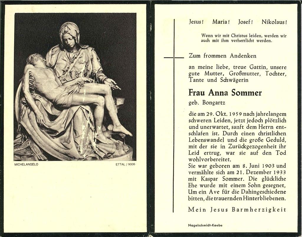 Totenzettel Sommer, Anna † 29.10.1959