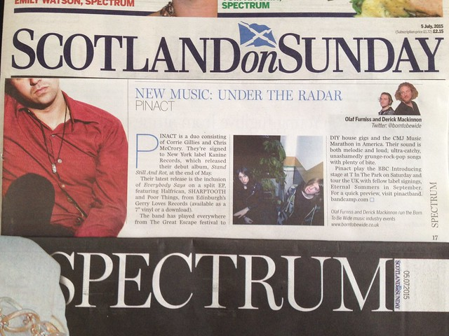 Olaf Furniss and Derick Mackinnon Scotland On Sunday, Spectrum Magazine 5 July 2015, Pinact